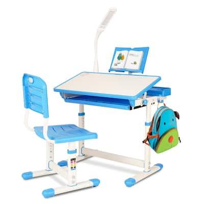 Kids Desk and Chair Set Children Ergonomic Student Study Desk with Tilt Desktop Height Adjustable Blue