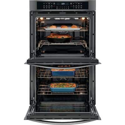 30 in. Double Electric Wall Oven with True Convection Self-Cleaning in Black Stainless Steel