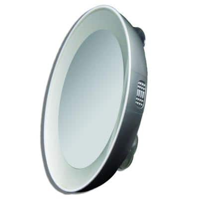 15X LED Lighted Next Generation Spot Makeup Mirror in Silver