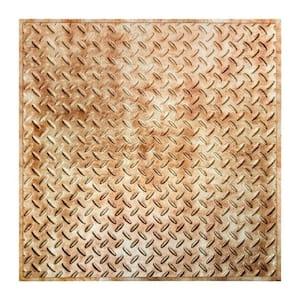 Diamond Plate 2 ft. x 2 ft. Bermuda Bronze Lay-In Vinyl Ceiling Tile (20 sq. ft.)
