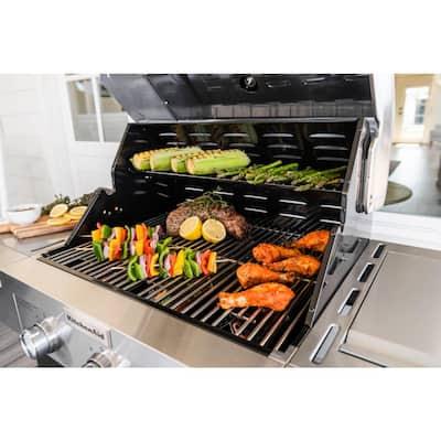 3-Burner Propane Gas Grill in Slate with Ceramic Sear Side Burner