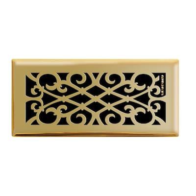 Elegant Scroll 4 in. x 10 in. Steel Floor Register in Polished Brass