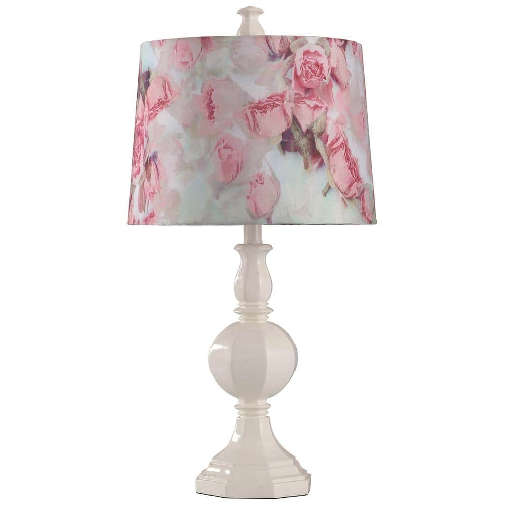 Stylecraft Poly 27 In White Table Lamp L312158ads The Home Depot