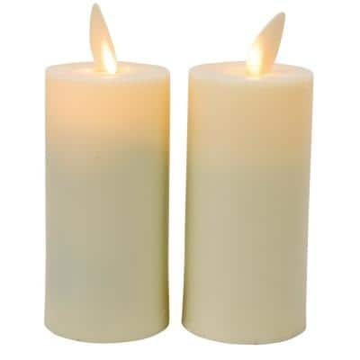 4 in. Ivory Flameless LED Plastic Moving Flame Votive Great for Lantern Use (Set of 2)
