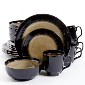 Bella Galleria 16-Piece Casual Taupe and Black Stone Dinnerware Set (Service for 4)