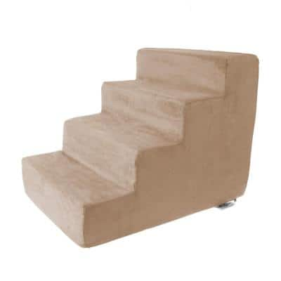 Tan High Density Foam Pet Stairs - 4 Steps with Machine Washable Furniture Cover and Nonslip Bottom