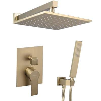 Single-Handle 1-Spray Square High Pressure Shower Faucet in Brushed Gold (Valve Included)