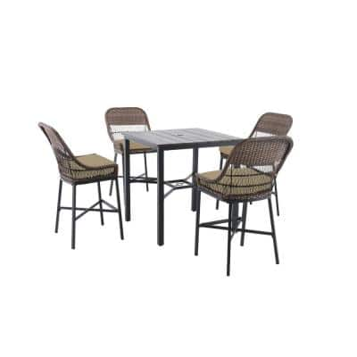 Beacon Park 5-Piece Brown Wicker Outdoor Patio High Dining Set with CushionGuard Putty Tan Cushions