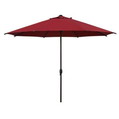 11 ft. Market Patio Umbrella with Push Tilt and Crank in Red