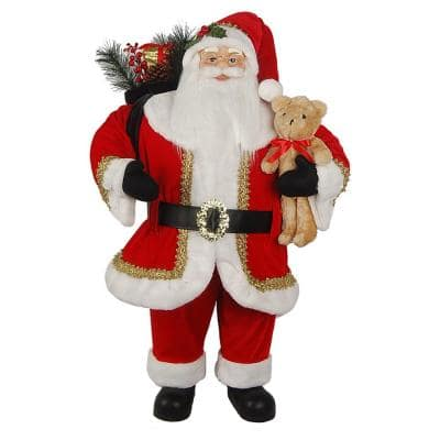 36 in. Christmas Santa with Bear and Gift Bag