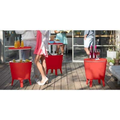 Cool Bar Red Resin Outdoor Accent Table and Cooler in One