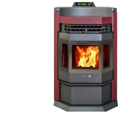 HP22NSS-Burgundy Pellet Stove 2,800 sq. ft. EPA Certified in Burgundy and SS Trim