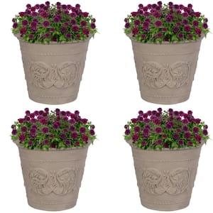 Arabella 20 in. Beige Outdoor Resin Flower Pot Planter (4-Pack)