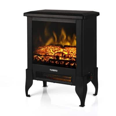 Suburbs 14 in. Freestanding Electric Fireplace Stove with Realistic Dancing Flame Effect and Thermostat in Black