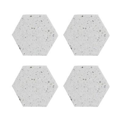 Elements Ivory Terrazzo Hexagonal Coaster (Set of 4)