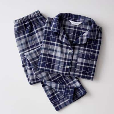 Family Flannel Company Cotton Kid's 5 Pajama Set in Navy Plaid