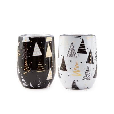 12 oz. Insulated Black and White Tree Wine Stainless Steel Tumblers (Set of 2)