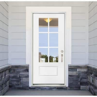36 in. x 80 in. Legacy 6 Lite 3/4 Lite Clear Glass Left Hand Inswing White Primed Fiberglass Prehung Front Door
