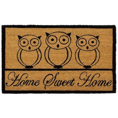 All Weather Home Sweet Home Owl 18 in. x 28 in. Indoor/Outdoor Printed Coir Mat