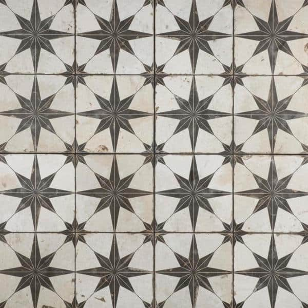 Merola Tile Kings Star Nero 17 5 8 In X17 5 8 In Ceramic Floor And Wall Tile 11 02 Sq Ft Case Fpestrn The Home Depot