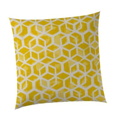 Yellow Cubed Square Outdoor Throw Pillow