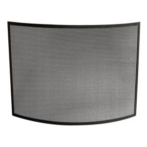 Black Wrought Iron 41 in. W Curved Single-Panel Steel Frame Fireplace Screen