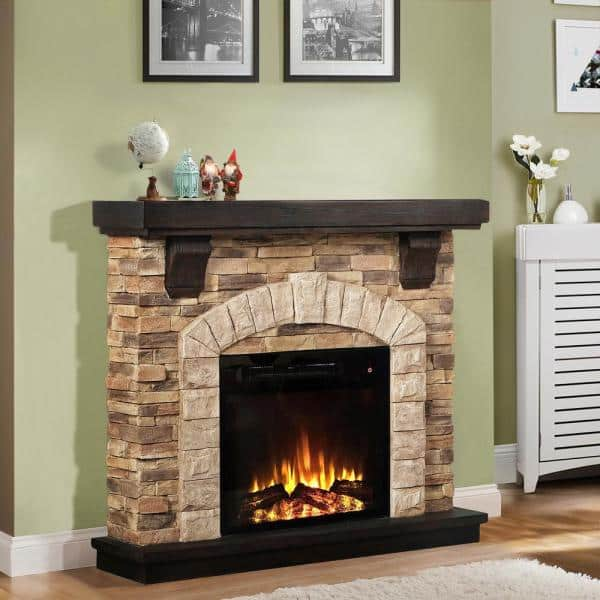 Festivo 45 In Freestanding Electric Fireplace In Tan Ffp20101 The Home Depot