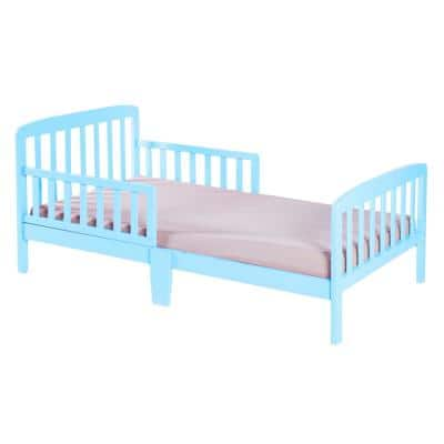 Classic Wooden Boys Girls Toddler Kids Bed Frame with Double Adjustable Guard Rails, Light Blue with Mattress Included