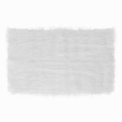 Faux Sheepskin White 2 ft. x 3 ft. Solid Super Soft Faux Fur Area Rug