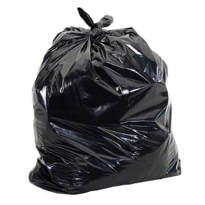 55-60 Gal. Black Trash Bags - 38 in. x 58 in. (Pack of 100) 1.5 mil (eq) - for Construction and Commercial Use