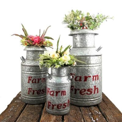 Old Style Galvanized Iron Milk Can Planters in Red (3-Set)