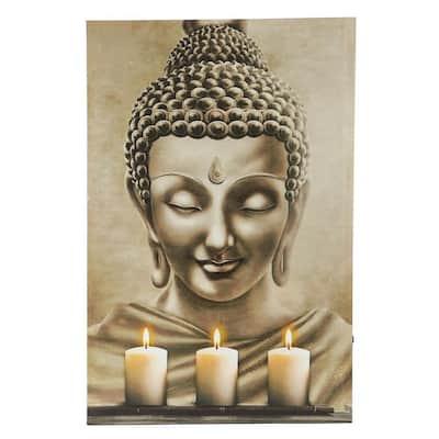 Buddha Three Candles Canvas Print Wall Art with LED Lights