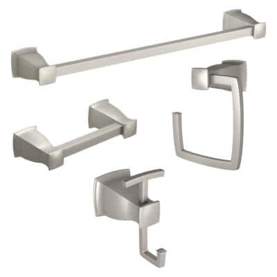 Hensley Press and Mark 4-Piece Bath Set with 24 in. Towel Bar, Towel Ring, Paper Holder and Robe Hook in Brushed Nickel