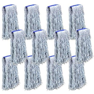 Nano Microbial Cut End Finish Mop, 1.25 in. Universal Headband, Blue, (Pack of 12)