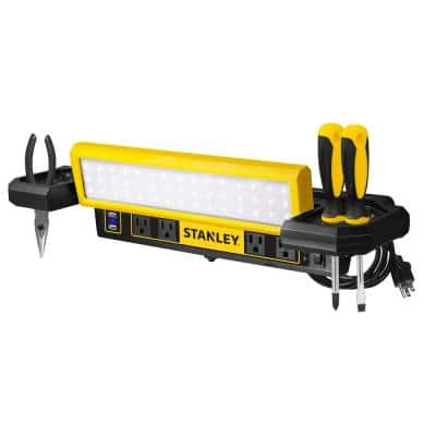 1000 Lumens Portable Work Bench Shop Light with AC and 2.1 Amp USB Power Strip Charging Ports
