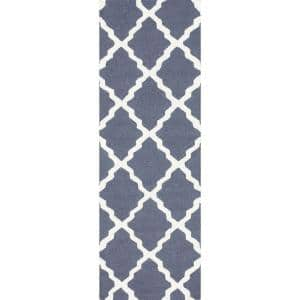 Marrakech Moroccan Trellis Blue Gray 3 ft. x 12 ft. Runner
