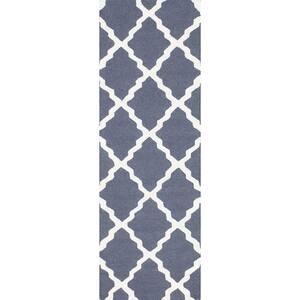 Marrakech Moroccan Trellis Blue Gray 3 ft. x 8 ft. Runner