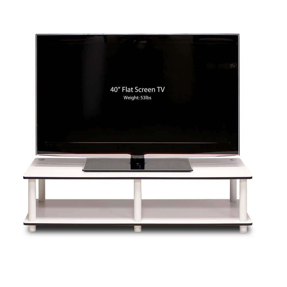 Furinno Just No Tools 42 In White Particle Board Tv Stand Fits Tvs Up To 40 In With Open Storage 11175wh Ex Wh The Home Depot