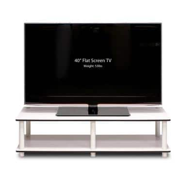 Just No Tools 42 in. White Particle Board TV Stand Fits TVs Up to 40 in. with Open Storage
