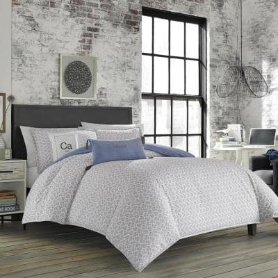 Downward Dog 104 in. x 96 in. Gray/Blue Beach and Nautical King Cotton Blend Duvet Cover