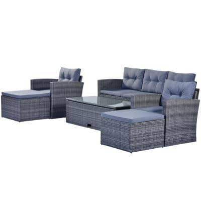 Florence Gray 6-Piece Wicker Patio Conversation Sectional Seating Set with Gray Cushions