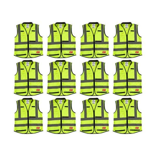 Milwaukee Performance 4x Large 5x Large Yellow Class 2 High Visibility Safety Vest With 15 Pockets 12 Pack 48 73 5044x12 The Home Depot