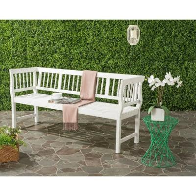 Brentwood 68.1 in. 3-Person White Acacia Wood Outdoor Bench
