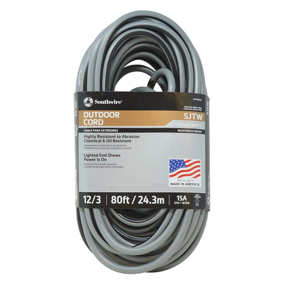 Southwire 80 Ft 12 3 Sjtw Outdoor Heavy Duty Extension Cord With Power Light Plug Gray Black 67705601 The Home Depot