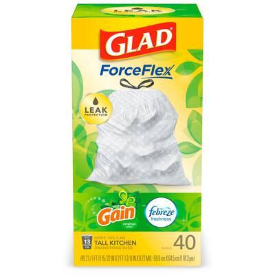 ForceFlex 13 Gal. Tall Kitchen Drawstring Gain Original with Febreze Freshness Trash Bags (40-Count)