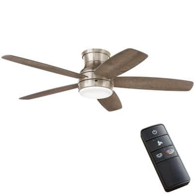 Ashby Park 52 in. White Color Changing Integrated LED Brushed Nickel Ceiling Fan with Light Kit and Remote Control