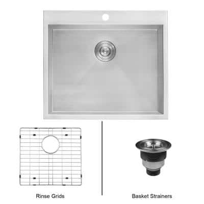 25 in. x 22 in. x 12 in. Deep Drop-in Top Mount Single Bowl 16-Gauge Stainless Steel Laundry Utility Sink