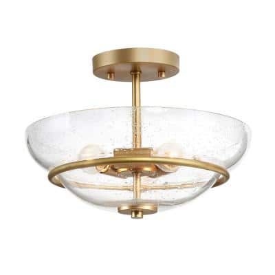 Lind 12 in. 3-Light Gold Semi-Flush Mount Modern Ceiling Light with Seeded Glass Shade