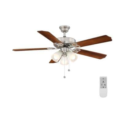 Brookhurst 52 in. LED Brushed Nickel Ceiling Fan with Light and WiFi Remote Control works with Google and Alexa
