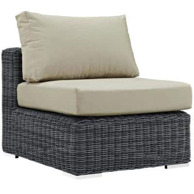 Summon Patio Wicker Sunbrella Armless Middle Outdoor Sectional Chair with Canvas Antique Beige Cushions